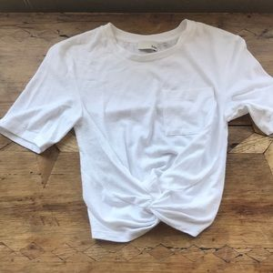 Aritzia Tops - Aritzia Knotted Front Small Top, white